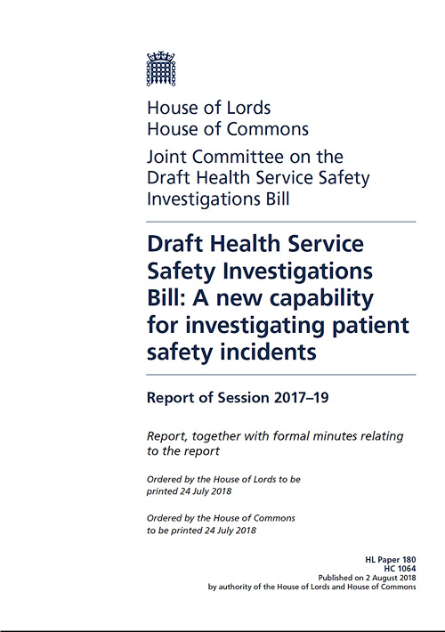 Joint Committee published report on Health Service Safety Investigations Bill