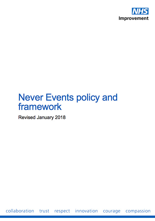 Revised Never events policy