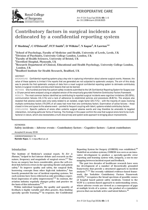 Contributory factors in surgical incidents as delineated by a confidential reporting system