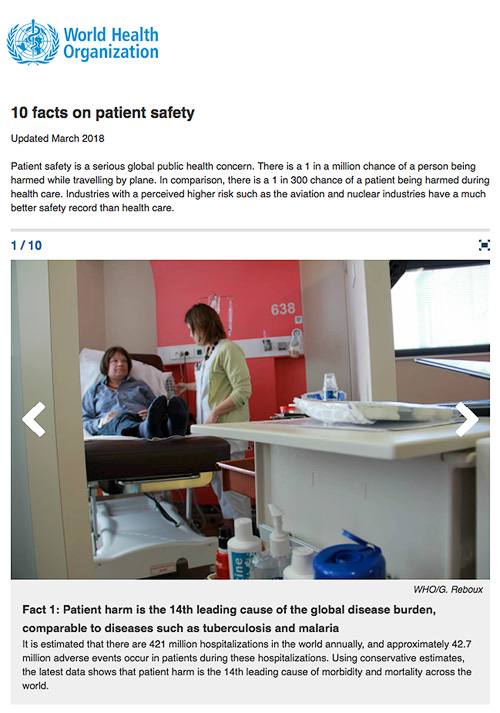 World Health Organisation – 10 global facts on Patient Safety