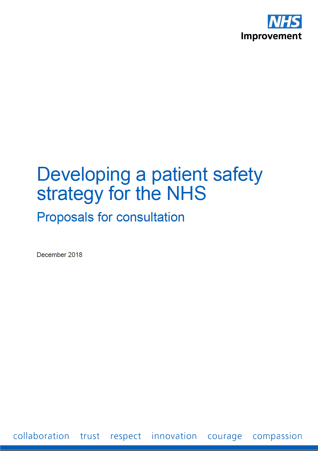 New government Patient Safety Strategy Consultation