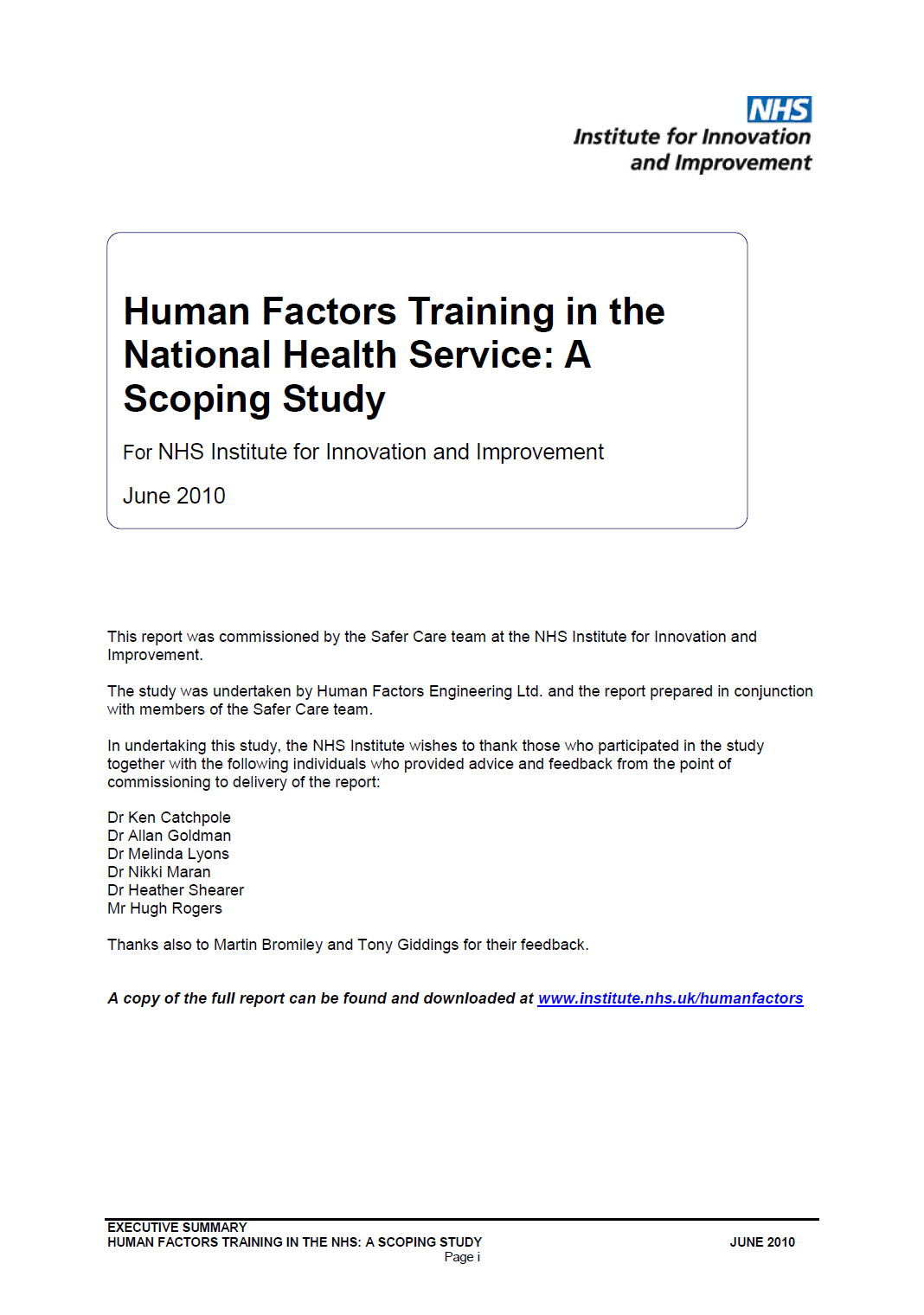 Human Factors training in the NHS – A scoping study