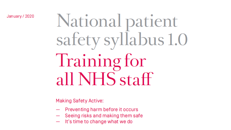 National Patient Safety Syllabus consultation response