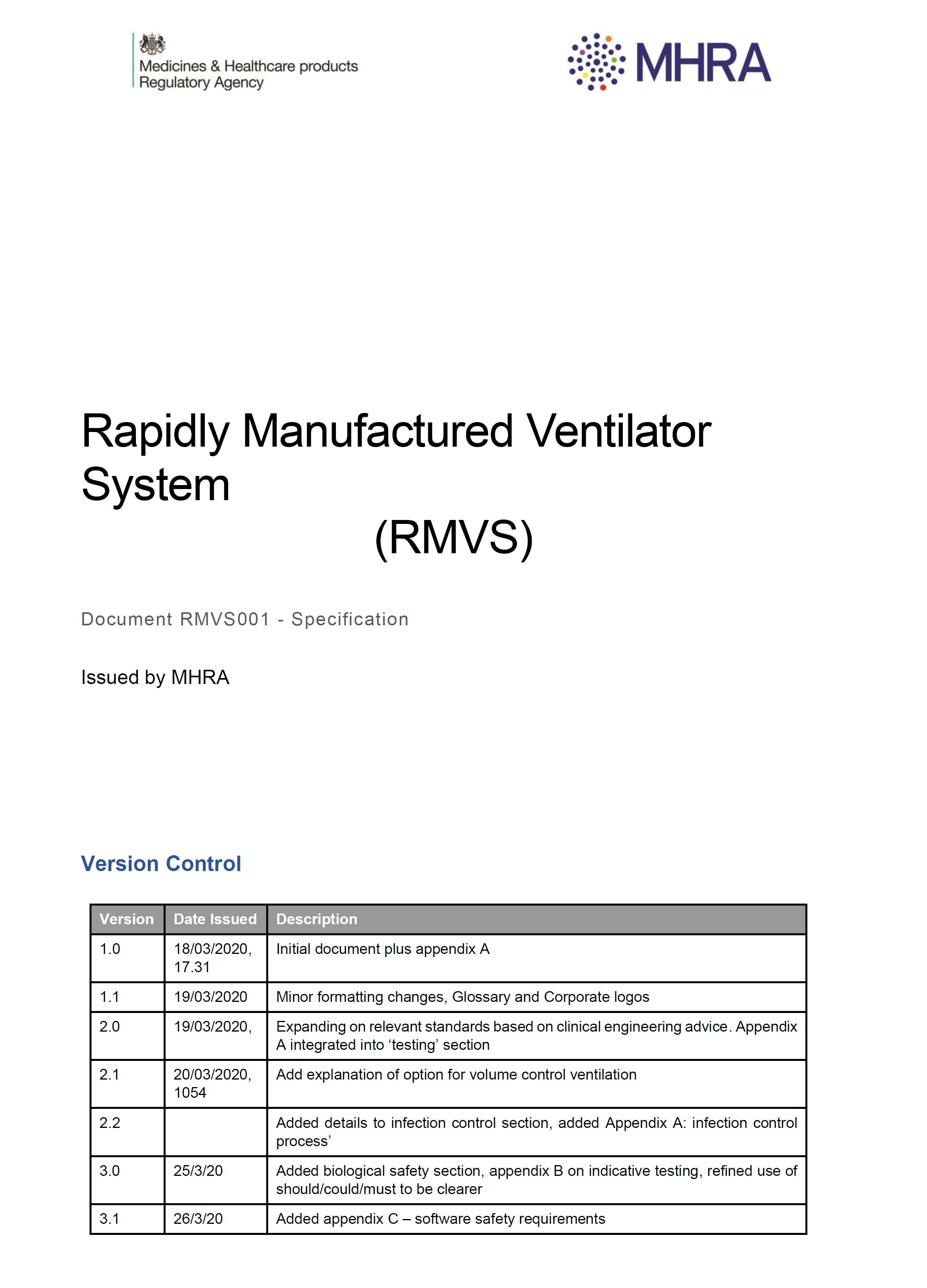 MHRA Rapidly Manufactured Ventilator System Spec