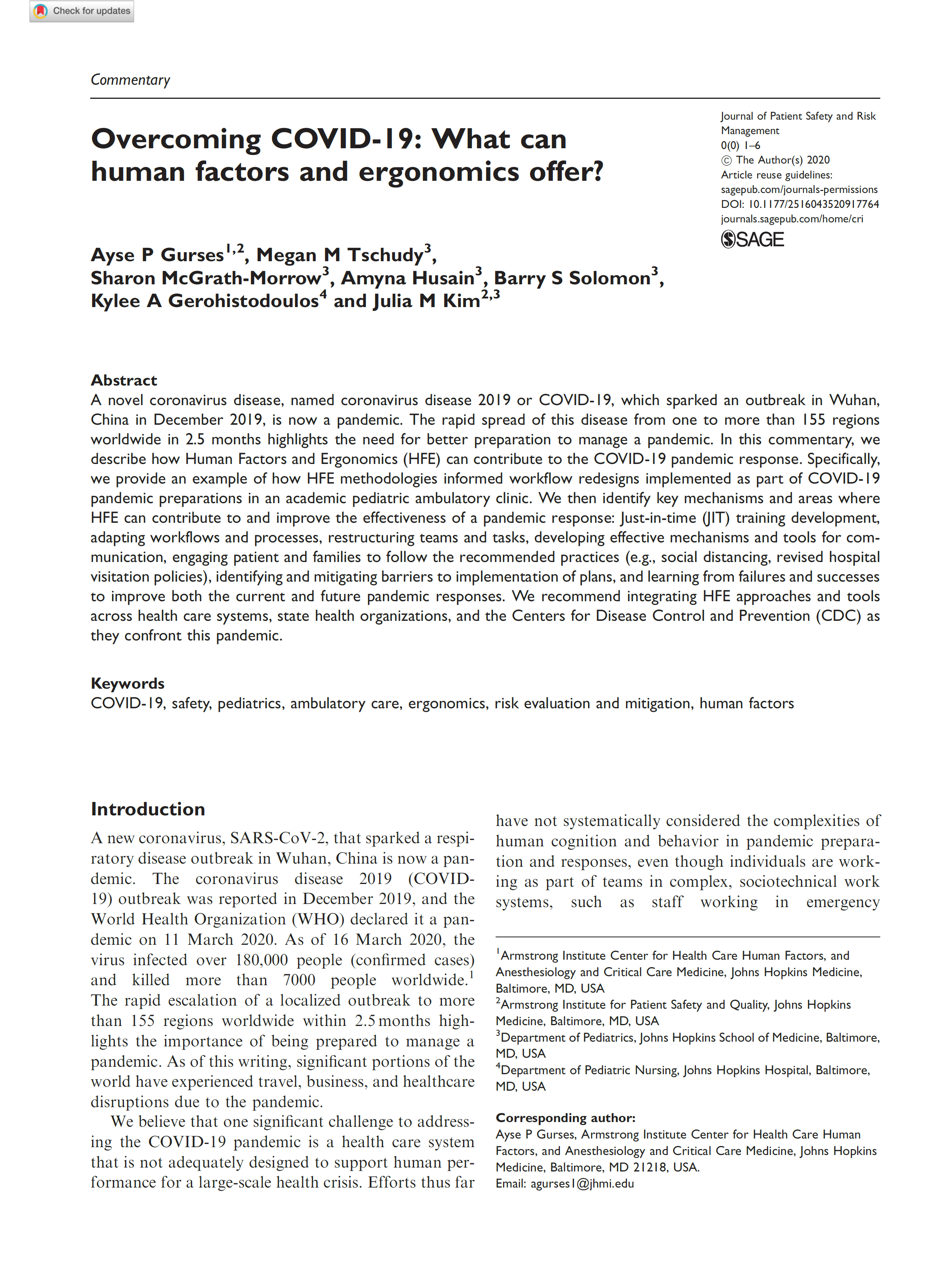 Overcoming COVID19: What can human factors and ergonomics offer?